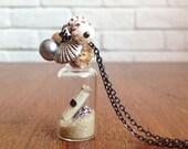 treasure map - beach in a bottle pendant necklace