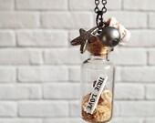 true love - beach in a bottle pendant necklace