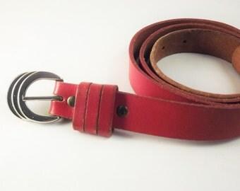 Red Belt, Womens Narrow Belt, Red Leather Belt, Silver Buckle Belt, Mod Belt, Thin Belt, 1980's Belt, Small Size Belt