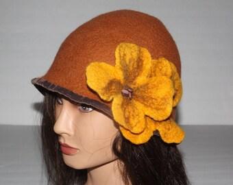 Felted Hat  Vintage Inspired   Art To Wear hat, FOXY LADY , OOAK hat, designer hat, unique hat, winter hat.