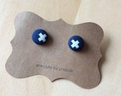 Covered Button Earrings - Cotton and Steel XOXO - Navy blue with white X