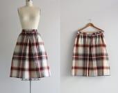 Vintage 50s Skirt . Plaid Skirt . Split Skirt . Full Midi Skirt with Pockets