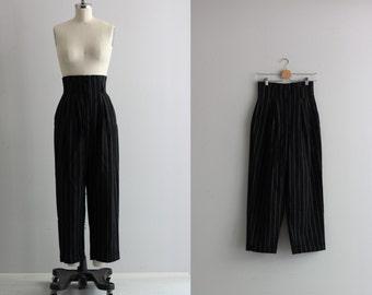 Pin Stripe High Waisted Pants . Womens Vintage Pants . 90s Black Pants
