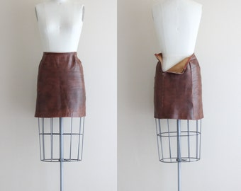 Vintage Mod Mini Skirt . Brown Leather Skirt . 1960s Gogo Skirt