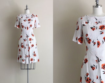SALE - Vintage Day Dress . Floral Print Dress . Split Skirt White Cotton Dress