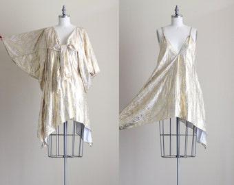 SALE - 1970s Disco Dress . Gold Party Dress . 2 Piece Dress Set
