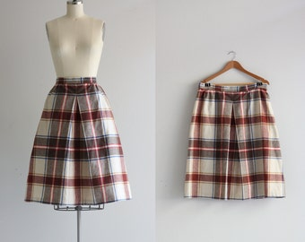 Vintage 50s Skirt . Plaid Skirt . Split Skirt . Full Midi Skirt with Pockets