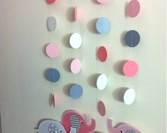 PINK & GRAY ELEPHANTS Baby Shower or Birthday Party Hanging Garland