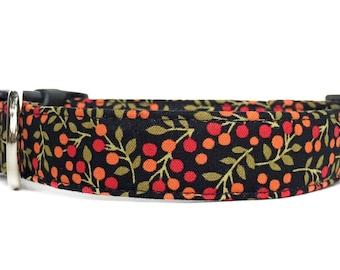 Black Floral Dog Collar / Orange Black Dog Collar / Midnight Garden Dog Collar / Black Floral Dog Collar