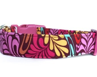 Pink Dog Collar / Girl Dog Collar / Floral Dog Collar / Paisley Dog Collar / Boho Dog Collar / Adjustable Dog Collar / Colorful Dog Collar