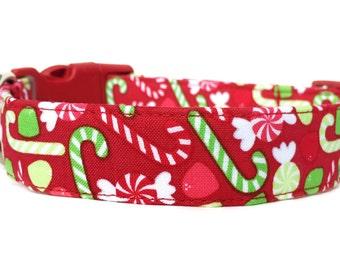 Christmas Dog Collar / Candy Cane Dog Collar / Red Green Dog Collar / Holiday Dog Collar / Peppermint Candy Dog Collar / Christmas Collars