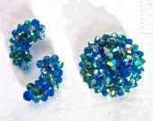 Blue Jewelry Set Earrings Brooch LAGUNA Signed Faceted AB Crystal Bead Earrings and Pin Peacock Blue 1960s Costume Jewelry