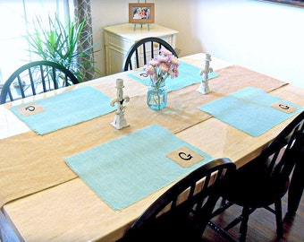 Burlap Placemats, Hand dyed in Mint, Custom Initial