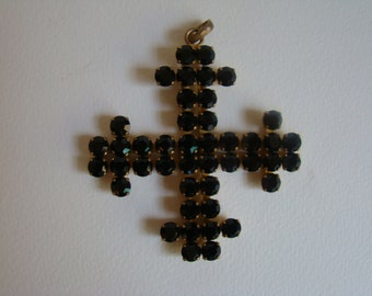 Scooter Paris large vintage cross pendant made with black stones