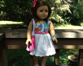 18 Inch Doll Clothes Summer Dress with Purse, Hairbow,Bracelets and Shoes for dolls like American Girl