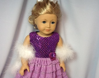 18 Inch Doll Clothes Long Lilac Ruffled Prom Dress with Boa for dolls like American Girl