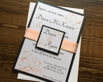Modern Wedding Invitation, Flourish Wedding Invitation, Peach Wedding Invitaton, Black Wedding Invitations, Custom Wedding Invitations