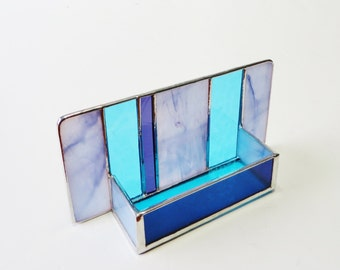Stained Glass Contemporary Business Card Holder Lavender Purple Turquoise Art Glass Office Decor Modern Desk Accessory