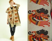 ON SALE 50% Vintage BOHO Ethnic Cuauhtemoc Knitted Poncho  (One Size Fits All)