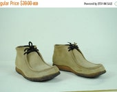 ON SALE 50% Men's 70's SUEDE Leather Moc Toes Chukka Boots (10.5)