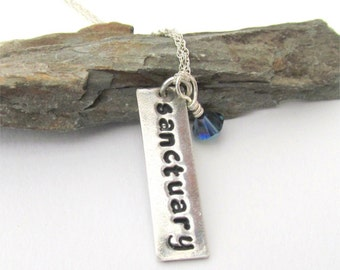 Custom Word Necklace, Personalized Word Pendant, Any Word, Custom Bar Necklace