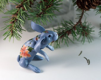 Blue lilac poinsettia rabbit. Polymer clay miniature by Madre Olius