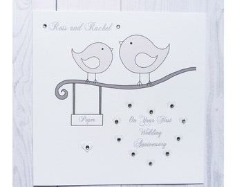Handmade Personalised First Wedding Anniversary Card Paper Love Birds Marriage