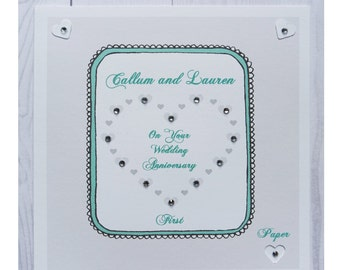 Handmade Personalised 1st Anniversary Card Wedding Anniversary First Paper Gift