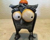 Halloween Owl with BIG eyes and long wings folk art by Janell Berryman Pumpkinseeds