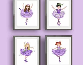Ballerina art, girl ballet art, ballerina room decor, ballet art prints, purple nursery art, lavender baby nursery art