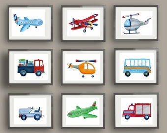 Brody Transportation boys art, boys transportation art, brody bedding art prints, airplanes nursery art, childrens art prints, kids wall art