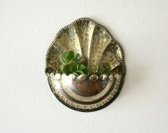 Vintage Brass Wall Pocket Planter, Wall Decor , Scallop