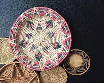 "large 17"" pink southwestern woven straw wall hanging basket / geometric star design"