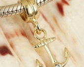 SALE Genuine Solid 9ct 9K Gold CZ Anchor Charm Great for Bead Bracelets or Necklace