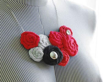 Rosette Statement Necklace - Red Black Gray - Recycled Materials