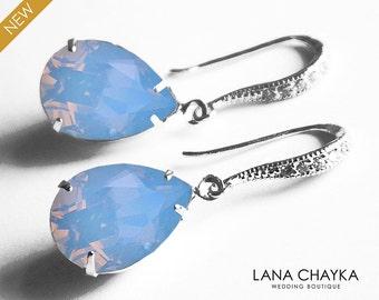 Blue Opal Crystal Earrings Swarovski Air Blue Opal Pastel Blue Sky Sterling Silver Dangle Earrings Bridesmaids Earrings Wedding Blue