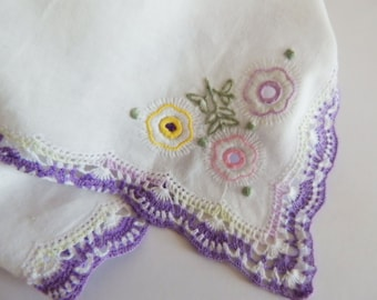 Purple Crochet Lace Wedding Handkerchief,Custom Embroidered,Mother of the Bride handkerchief,Wedding hankerchief,Bride Hankie,Vintage Hankie
