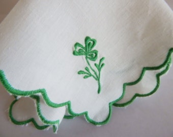 Custom Embroidered Vintage Dresser Mat,Lucky Irish Shamrock,Shower Gift,Mother of the Bride Gift,Handkerchief alternative, Personalized Gift
