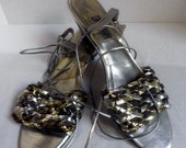 SALE...Metallic Sandals with ankle lace-up, low heel, 1990's, size 10