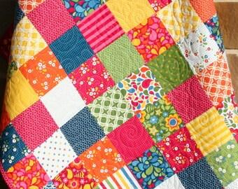 Baby Girl Quilt, Bright Patchwork Pink Blue Red, Crib Blanket, Nursery Decor, Bedding, Flowers, Handmade Shower Gift, Best Day Ever, Modern