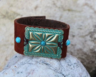 Leather Cuff with Concho