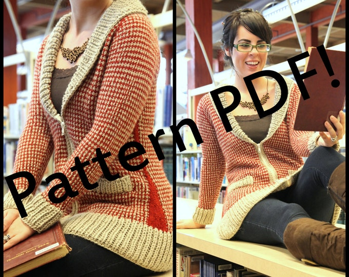 Urban Houndstooth Cardigan: hand knit sexy librarian sweater PDF Knitting Pattern by The Sexy Knitter