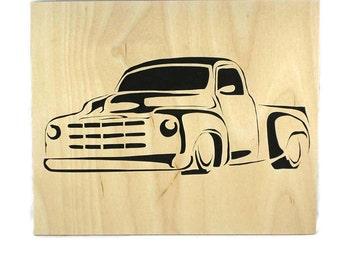 Vintage Truck 8 x 10 Wood Art Portrait Handmade From Birch Wood,