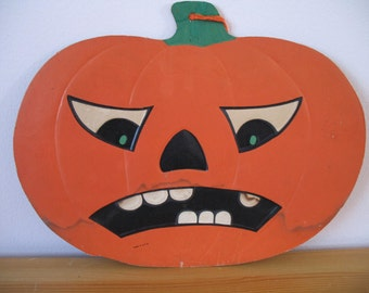 Vintage Luhrs Halloween Frowning Pumpkin Die Cut Decoration