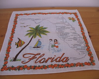 1950's Handkerchief,  Florida State Souvenir Hanky