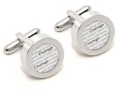 Courage Cufflinks - Winston Churchill - Famous Quotes - With Gift Box