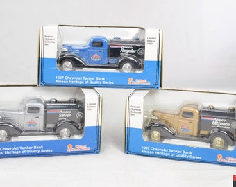 Lot of 3 Collector Set 1993 Limited Edition 1937 Chevrolet Tanker Bank Amoco