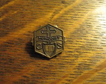 Methodist Lapel Pin - Vintage 1940's Church School Religion Old Badge Brooch
