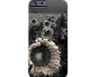 Phone Case, Black and White Sunflower fine art image