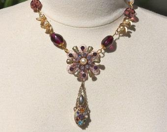 Statement Necklace, Vintage Necklace, Perfume Bottle, Flower Power, reclaimed, amethyst, pearl, Jennifer Jones, purple - Scent of a Woman